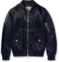Ensuring a soft and cosy feel, this bomber jacket by British powerhouse <a href='http://www.mrporter.com/mens/Designers/Burberry'>Burberry</a> is lined in a brushed wool-blend cloth patterned with the label's signature check. Cut from lustrous midnight-blue shell, it's finished with plush gold hardware and ribbed jersey trims that define the sporty shape. Multiple pockets offer plenty of space to stow personal effects, so you can gad about town hands-free.