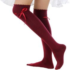Amazon.com: Women's Thigh High Socks Lolita Gothic Over Knee Stocking... ($13) ❤ liked on Polyvore featuring intimates, hosiery, socks, overknee socks, above the knee socks, over-the-knee socks, above knee socks and lace up socks
