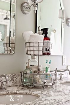 DOUBLE UP BASKETS:This blogger chose a basket made for kitchen use to create two different cubbies: One for towels and soap, and the other for products used during nighttime rituals. Click through for more bathroom storage ideas.