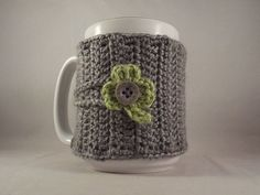 St. Patricks Day Crochet Gray Coffee Mug Cup Cozy with Green Shamrock. #kokadoodle3