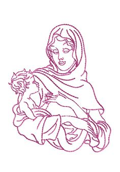 Virgin Mary Holding Baby Jesus Embroidery Designs  -- ABC Designs