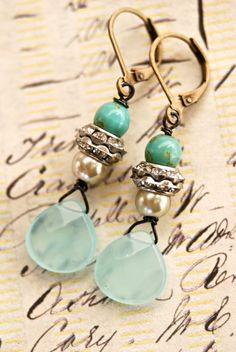 Marielle. sea blue glass beaded,rhinestone drop earrings. Tiedupmemories