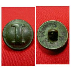 """A beautiful excavated solid Confederate """"cast """"I"""". This button was recovered from near Sunny Pond, GA."""