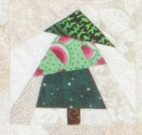 Christmas Flag Quilt, week 7 -- Just a few more trees to go! Here are this week's free full-size tree foundations for trees 14, 14R, and 15, available for download from the Quilters Newsletter website.
