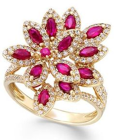 Ruby Royalé by EFFY Ruby ct.) and Diamond ct.) Ring in Gold – Rings – Jewelry & Watches – Macy's Gold Rings Jewelry, Ruby Jewelry, Diamond Jewelry, Jewelry Watches, Fine Jewelry, Jewellery, Ruby Diamond Rings, 14k Gold Ring, Diamond Flower