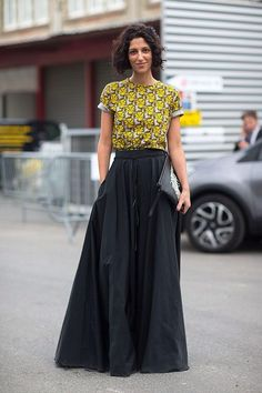 Yellow patterned top with black maxi skirt