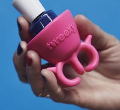 tweexy wearable nail polish bottle holder in Bonbon Pink - carry it with you everywhere and polish faster and neater. #DIYfun