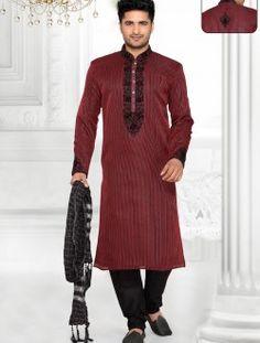 Gorgeous Sheded Maroon Art Silk Kurta Pajama