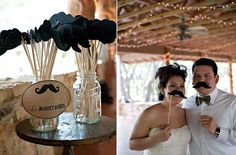 Mustache photo booth would be such a cute idea for guests. Send them a copy of their pictures in your thank yous!