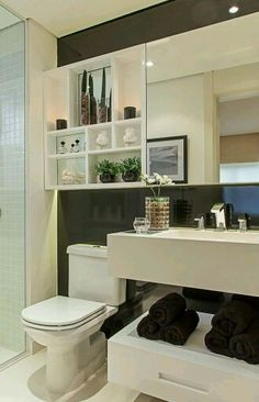 Dozens of ideas to help you decorate a small bathroom and bring style to the most important room in the house. Find organizational tips, artwork, and more. Bathroom Toilets, Laundry In Bathroom, Small Bathroom, Bathroom Wall, Bathroom Ideas, Comfort Room, Bathroom Layout, Beautiful Bathrooms, Bathroom Inspiration