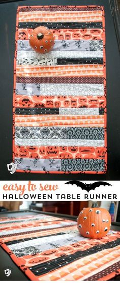 """Cute """"quilt as you go"""" Halloween decor table runner sewing tutorial on polkadotchair.com"""