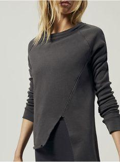 0cd3037b FRANK & EILEEN TEE LAB Asymmetric Sweatshirt Carbon SWEATSHIRTS Yoga  Workout Clothes, Athletic Wear,