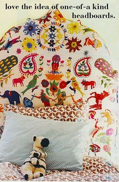 Fanciful headboard...not necessarily the pattern but that it's a diy one...