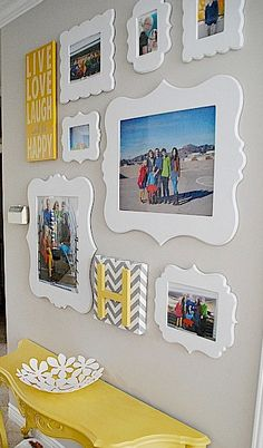 Love the clean white, happy yellow, and gray chevron that combines so well with the subject and color of the photos