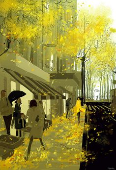 """(Pinned by AshOkaConcept ॐ) """"Drizzling. It's raining here today"""" by Pascal Campion Pascal Campion, Umbrella Art, Art Et Illustration, Inspiration Art, Mellow Yellow, Oeuvre D'art, American Artists, Illustrations Posters, Amazing Art"""