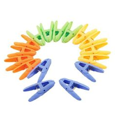 "Amico 16 Pcs Pack Assorted Color Hard Plastic Clothes Pegs Clothespin by Amico. $4.45. Product Name : Clothes Pins; Material : Plastic, Metal. Color : Blue, Green, Yellow, Orange. Size (Each) : 5.5 x 1.5 x 2.5cm / 2.2"" x 0.6"" x 0.98"" (L*W*max.H). Weight : 55g. Package Content : 16 x Clothes Pins. Mini corn shaped plastic clothespins, assorted color and each color has 4 pcs clips. Toothed and textured nonslip design for holding clothes or other small items more ..."