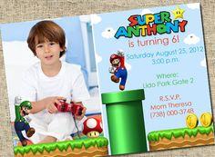 Super Mario Invitation  Custom Photo Printable by SugartreePrints, $15.00