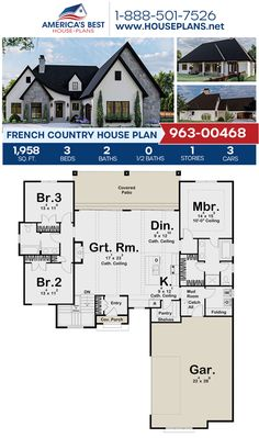 A dazzling French Country design, Plan 963-00468 offers 1,958 sq. ft., 3 bedrooms, 2 bathrooms, split bedrooms, a kitchen island, an open floor plan, and a 3 car garage. #frenchcountry #onestoryhome #architecture #houseplans #housedesign #homedesign #homedesigns #architecturalplans #newconstruction #floorplans #dreamhome #dreamhouseplans #abhouseplans #besthouseplans #newhome #newhouse #homesweethome #buildingahome #buildahome #residentialplans #residentialhome Best House Plans, Dream House Plans, Dream Houses, French Country House Plans, French Country Living Room, One Story Homes, Blue Prints, Open Layout, French Countryside