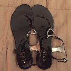 Black Guess sandals Guess sandals. Black patent leather with rhinestone hearts Guess Shoes Sandals