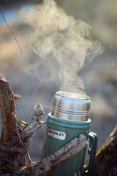 Steaming thermos.