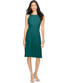 """Ralph Lauren Ruched Sleeveless Dress - Bridesmaids -  """"goddess green"""" - macy's"""