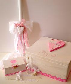 Pink Heart Christening Set, $382.20 at the Greek Wedding shop ~ http://www.greekweddingshop.com/