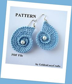 Sea Shell Earrings / love them! / CROCHET pattern / at widest part meas. 1-3/4""