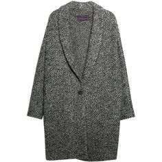 Violeta by Mango Mohair Knitted Cocoon Coat, Medium Grey ($62) ❤ liked on Polyvore featuring outerwear, coats, jackets, coats & jackets, long sleeve coat, gray cocoon coat, leather-sleeve coats, grey coats and grey cocoon coat