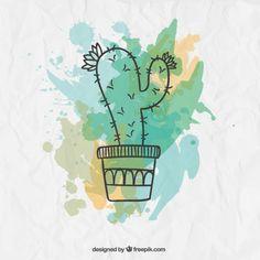 Like the flower outline on top Cactus Outline, Flower Outline, Watercolor Cactus, Watercolor Paintings, Diy Bullet Journal, Kaktus Tattoo, Painted Rock Cactus, Tattoo Outline, Wallpaper Iphone Disney