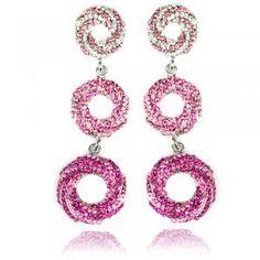 Bridal Boutique Crystal Vortex Dangle Earrings Pink