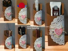 This is a great idea...Stampin' Up! Petite Pocket Die with the new 2013 Spring Catalog Hearts A Flutter Bundle, That's A Ticket Stamp Set, and Paper Doilies...great versatility for this project.