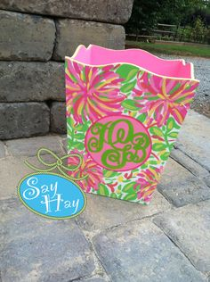 Hand-painted #Monogrammed Wastebasket in #lilly little lillet print, I'm obsessed with the #pink and #green
