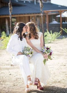 Two brides = two bouquets. | 23 Super Cute Lesbian Wedding Ideas