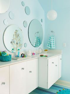 Bounce #Light with Mirrors for some great lighting for your #bathroom. Photo courtesy of @bhg