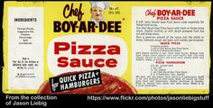 Chef Boy-Ar-Dee Pizza Sauce - 10 oz can food label - A vintage Chef Boy-Ar-Dee pizza sauce can label dating back to the I believe. Vintage Packaging, Vintage Labels, Vintage Ads, Retro Recipes, Vintage Recipes, Chef Boyardee, Bread Mix, Frozen Pizza, Food Labels