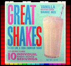 Great Shakes Milkshake Kit (circa from Nestle's Baby Boomer Era, Chocolate Malt, Chocolate Brown, Vintage Recipes, Vintage Food, Vintage Stuff, Clean Plates, Ice Cream Candy, Soda Fountain