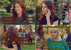 Chloe should walk the talk xD Bechloe, Fat Amy. Pitch Perfect 2