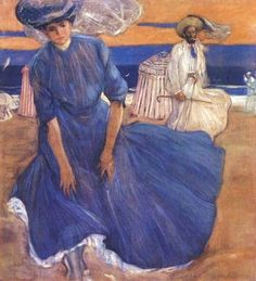 Another later painting here just to evoke the wind in wide skirts: Frederick Frieseke (American artist, 1874-1939), Windy Day at the Beach 1906
