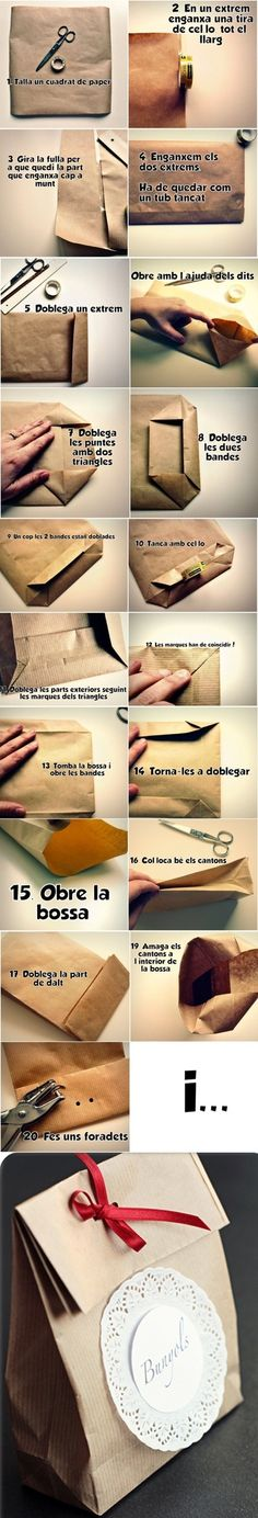 Check out this fun way to make your own paper gift bag tutorial Creative Crafts, Diy And Crafts, Creative Ideas, Diy Paper, Paper Crafts, Paper Gift Bags, Diy Box, Gift Packaging, Diy Projects To Try