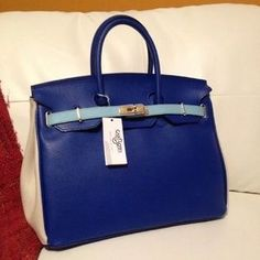 827c9e14152 I just discovered this while shopping on Poshmark  AUTHENTIC CARBOTTI  BIRKIN STYLE BLUE BAG W LOCK. Check it out! Size  35CM