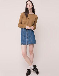 Pull&Bear - mujer - faldas - falda vaquera abotonada - azul - 09398321-I2015