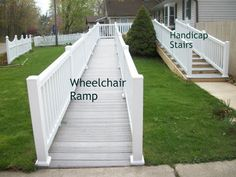 Functional Homes: Universal Design for Accessibility: ADA: Walker (Handicap) Stairs instead of a Wheelchair Ramp Handicap Accessible Home, Handicap Ramps, Porch With Ramp, House With Porch, Ada Ramp, Porch Kits, Porch Ideas, Mobile Home Porch, Ramp Design