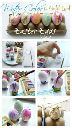 Water Color and Gold Leaf Easter Eggs with step by step instructions!