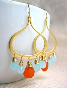 Gold Chandelier Earrings with Wire Wrapped by NellBelleDesigns, $52.00