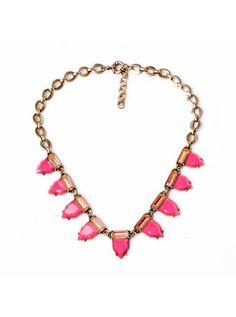 Fashion Sweet Hot Pink Geometric Gem Choker Necklace