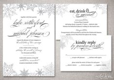 "Winter Snowflake ""Kylie"" Wedding Invitation Suite - Classic Modern Whimsical Script Invitations - DIY Digital Printable or Printed Invite"