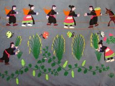 VINTAGE LOT OF (4) HMONG FINE NEEDWORK TREE OF LIFE - ESCAPE OF LAOS STORY +