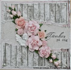 Shabby card with a lot of roses. Papers from Maja Design