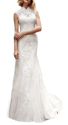 Meledy Women's High Neck Lace Appliques Long Mermaid Full Back Court Train Formal Wedding Dress Bridal Gowns White US10. High Neck,Lace,Appliques,Sleeveless,Full Back,Court Trains,Mermaid. Perfect for Wedding Dress,Bridal Wedding Gown,Bridesmaid Dress, Garden Wedding Dress,Beach Wedding Dress,Other Special Occasion. Built-in bra. Dry clean only. When we get your order we will contact you confirm the detail information. If get no reply from you in 2 days, we will just make as you ordered....