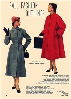 Fall Fashion Outlines, 1953. #vintage #1950s #coats